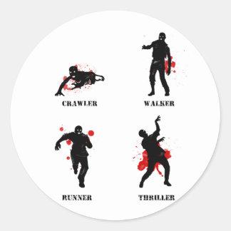zombie walker crawler round sticker