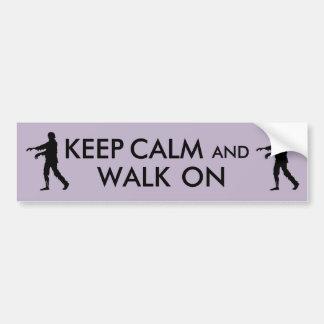 Zombie Walking Keep Calm Funny Bumper Sticker