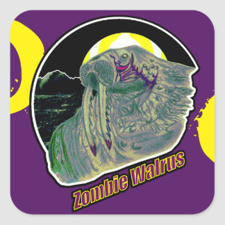 Zombie Walrus Yellow/Purple on Purple Square Sticker