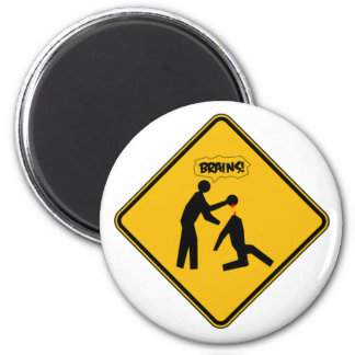 Zombie Warning Sign 6 Cm Round Magnet