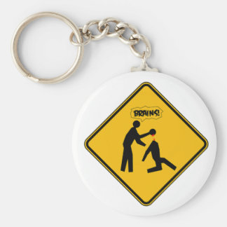 Zombie Warning Sign Basic Round Button Key Ring