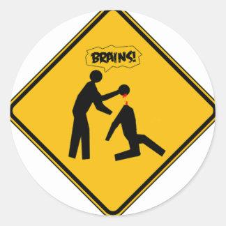 Zombie Warning Sign Round Sticker