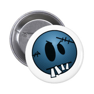 ZOMBIECON FACE - BLUE 6 CM ROUND BADGE