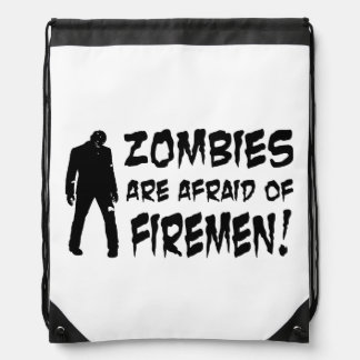 Zombies Are Afraid Of Firemen Drawstring Backpack Cinch Bags