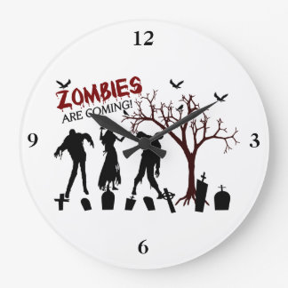 Zombies Are Coming Large Clock
