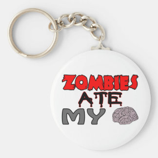 Zombies Ate My Brain Basic Round Button Key Ring
