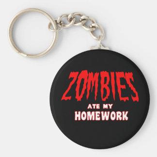 Zombies Ate My Homework Basic Round Button Key Ring