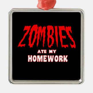Zombies Ate My Homework Silver-Colored Square Decoration