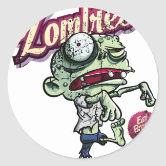 Zombies eat Brains Classic Round Sticker