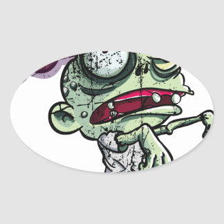 Zombies eat Brains Oval Sticker