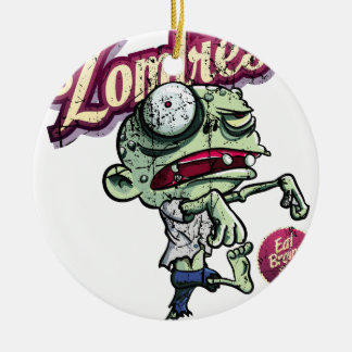 Zombies eat Brains Round Ceramic Decoration