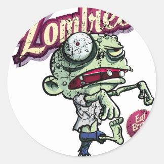 Zombies eat Brains Round Sticker