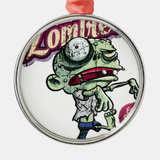 Zombies eat Brains Silver-Colored Round Decoration