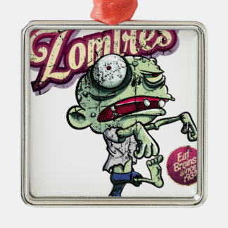 Zombies eat Brains Silver-Colored Square Decoration