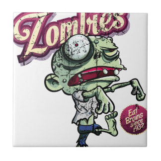 Zombies eat Brains Small Square Tile