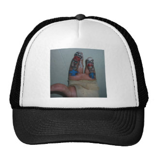 Zombies Eating Brains Funny Zombie Fingers Painted Trucker Hat