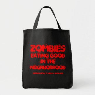 ZOMBIES,EATING GOOD IN THE NEIGHBORHOOD ! GROCERY TOTE BAG