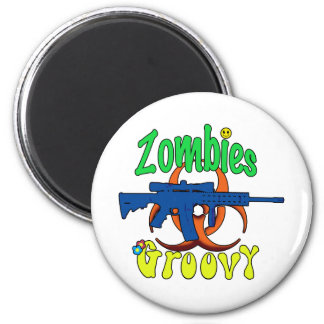 Zombies groovy refrigerator magnets