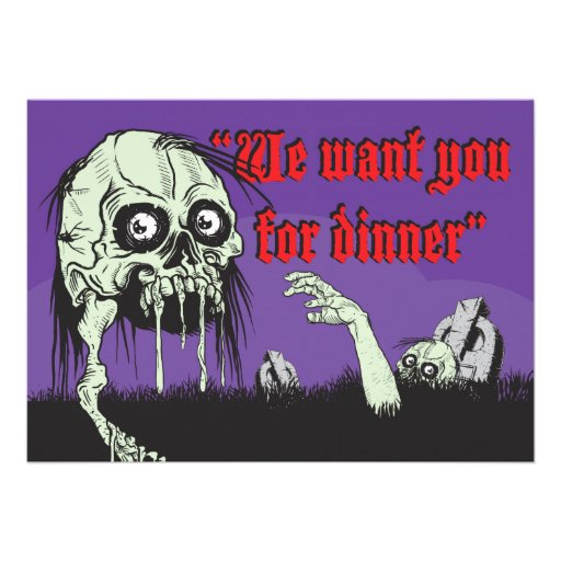 Zombies Halloween Night dinner party, Personalized Invite