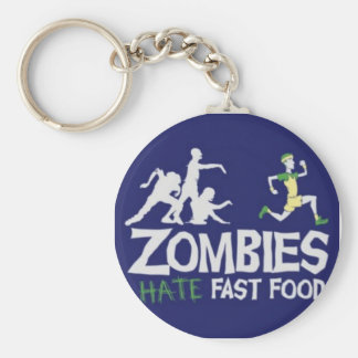 Zombies Hate Fast Food Basic Round Button Key Ring