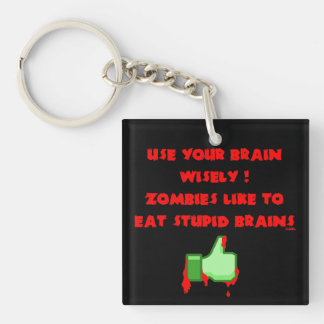 Zombies like stupid brains key ring
