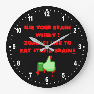 Zombies like stupid brains large clock