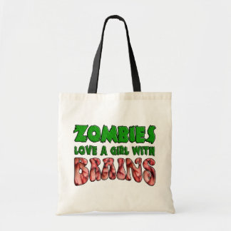 Zombies Love a Girl with Brains Budget Tote Bag