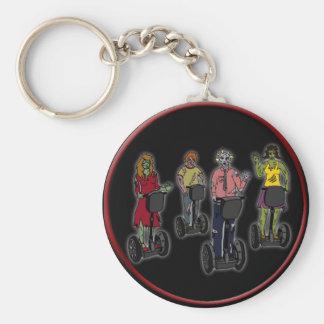 Zombies on Segways, keychain Basic Round Button Key Ring