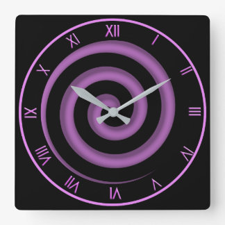 Zone Black and Lavender  Spiral Wall Clock