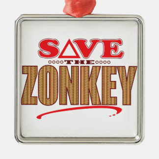 Zonkey Save Silver-Colored Square Decoration