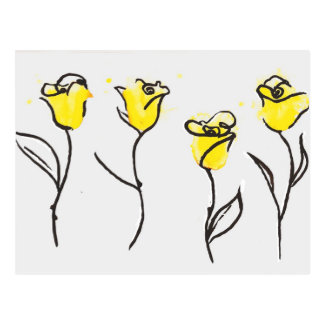 Zonta Postcard Yellow Rose Line Drawing