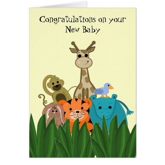 Zoo Animal New Baby Congratulations Card