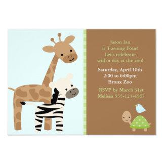 Zoo Animals 13 Cm X 18 Cm Invitation Card