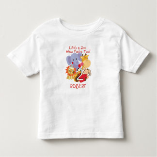 Zoo Animals 2nd Birthday Kids Customized T-shirt
