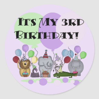 Zoo Animals 3rd Birthday Tshirts and Gifts Classic Round Sticker