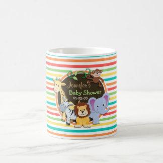 Zoo Animals Baby Shower Bright Rainbow Stripes Coffee Mug