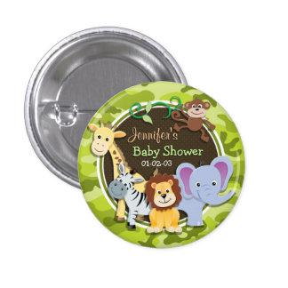 Zoo Animals; bright green camo, camouflage 3 Cm Round Badge