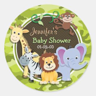 Zoo Animals; bright green camo, camouflage Round Sticker