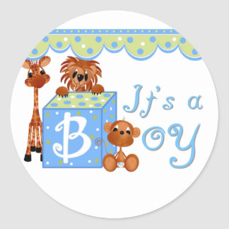 Zoo Animals It's a Boy Baby Annoucement Cards Classic Round Sticker