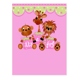 Zoo Animals It's a Girl Cards Postcard
