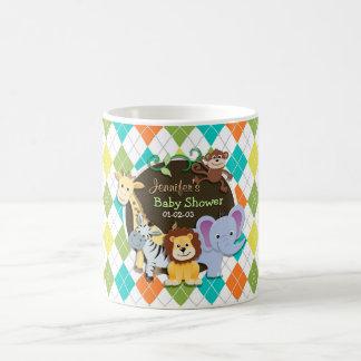 Zoo Animals on Colorful Argyle Coffee Mug