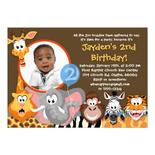 Zoo Animals - Wild Animals Birthday Invitation