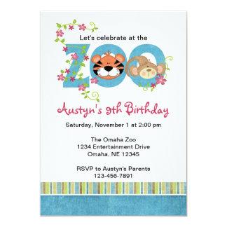 """Zoo Birthday Party Invitations 5"""" X 7"""" Invitation Card"""