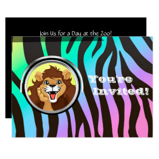 Zoo Birthday Party | Jungle Safari Lion Zebra Card