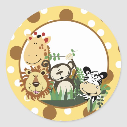 ZOO CREW Envelope Seals / Cupcake Toppers Round Sticker