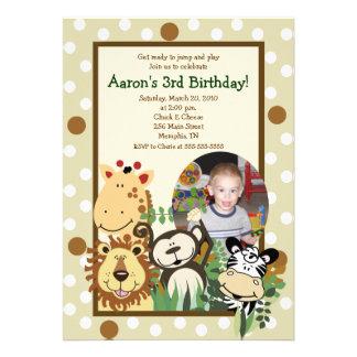 ZOO CREW Jungle PHOTO BIRTHDAY INVITE 5x7