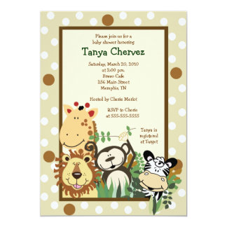 ZOO CREW Jungle Safari Baby Shower 5x7 Card