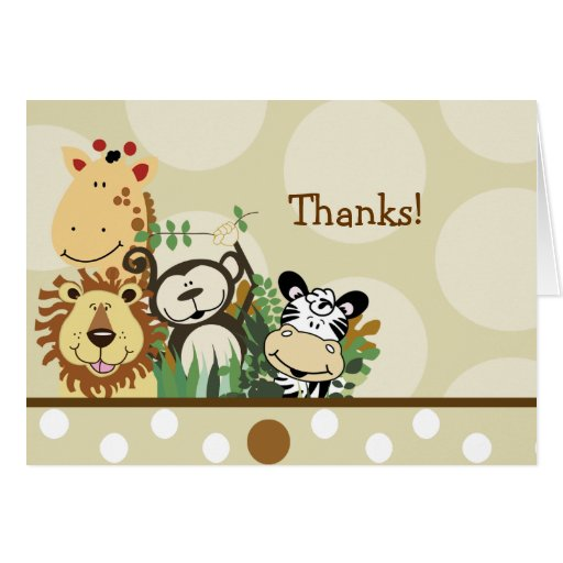 ZOO CREW Jungle Safari Folded thank you note Note Card