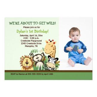 Zoo Crew Jungle Safari PHOTO Birthday 5x7 Invite