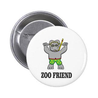 zoo friend hippo 6 cm round badge